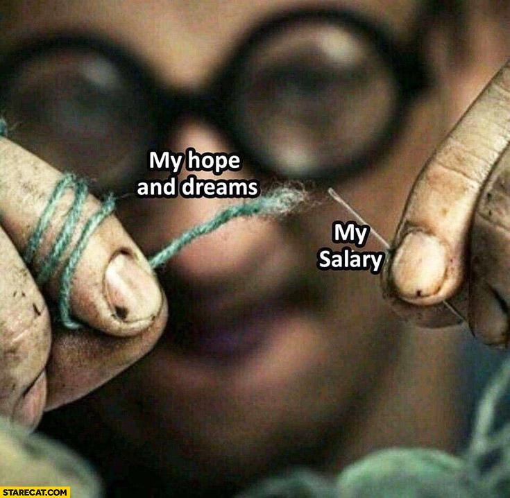 My hope and dreams vs my salary threading a needle