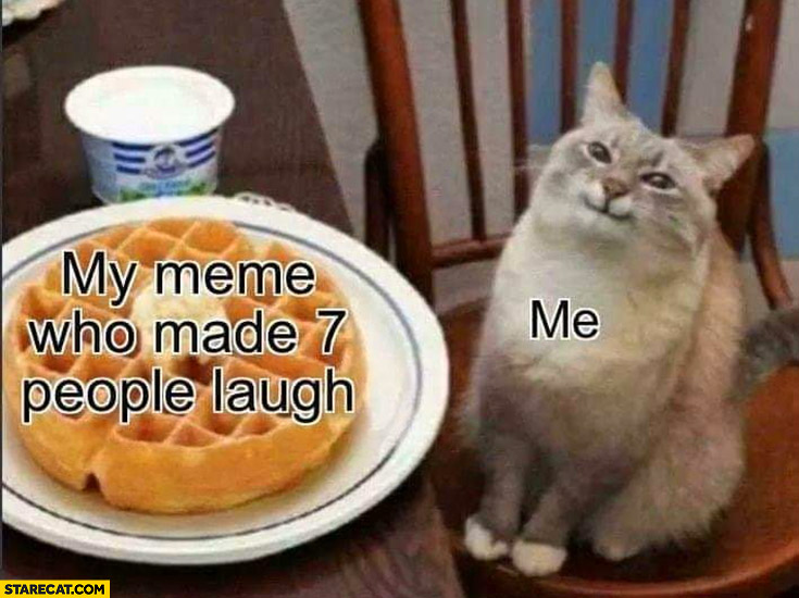 My meme who made 7 people laugh me happy cat