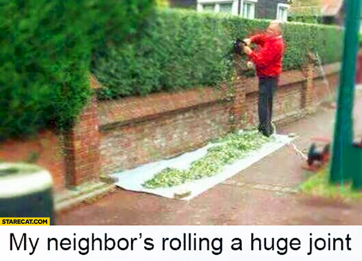 My neighbors rolling a huge joint