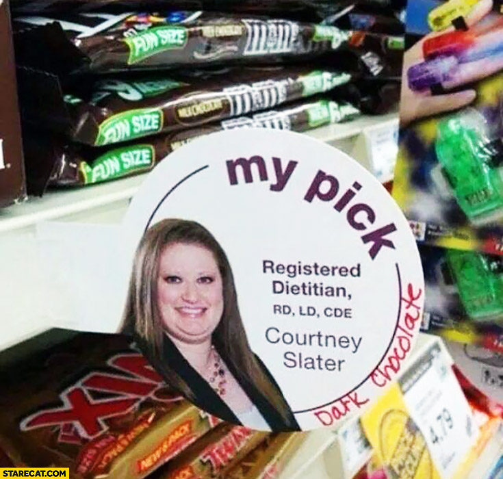 My pick. Fat dietitian recommends chocolate bars