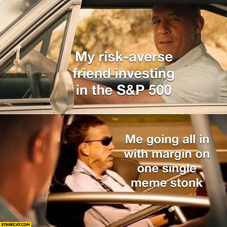 My risk averse friend investing in the SP 500 vs me going all in with margin on one single meme stock