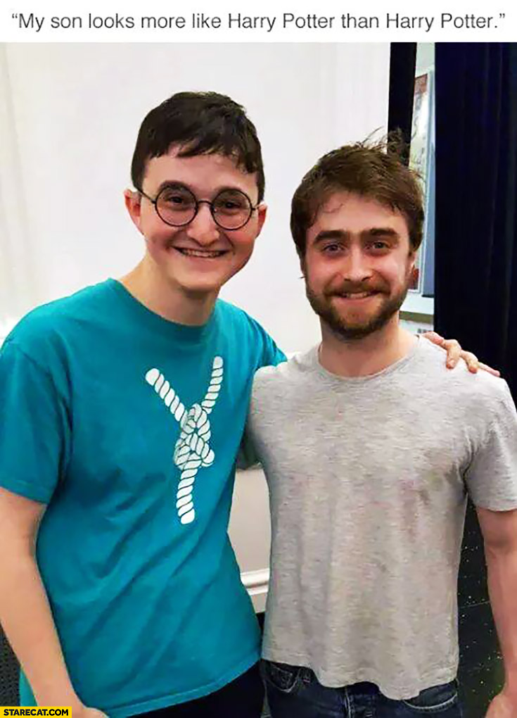 my son looks more like harry potter than harry potter daniel radcliffe daniel radcliffe memes starecat com
