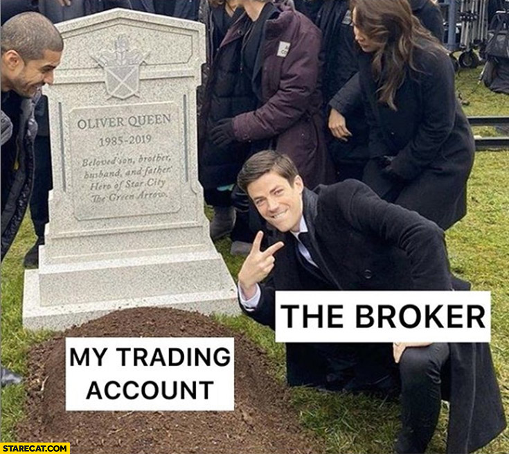My trading account grave the broker happy celebrating