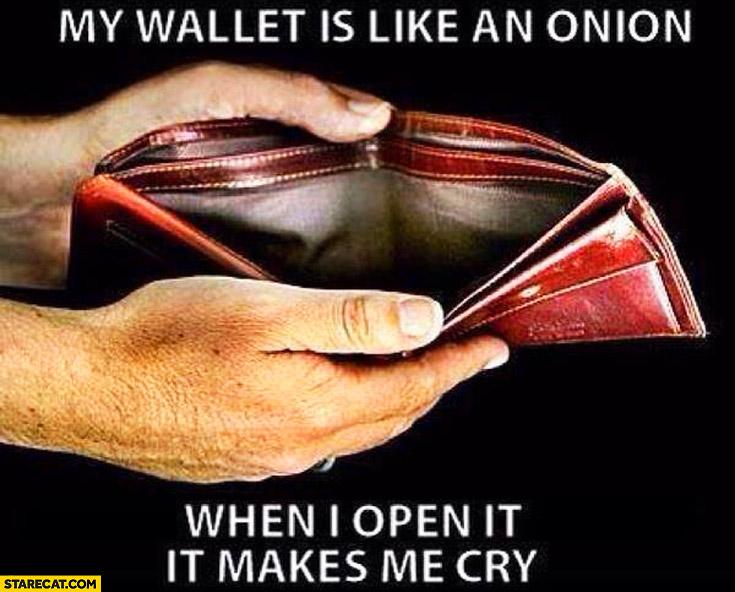 My wallet is like an onion when i open it it makes me cry