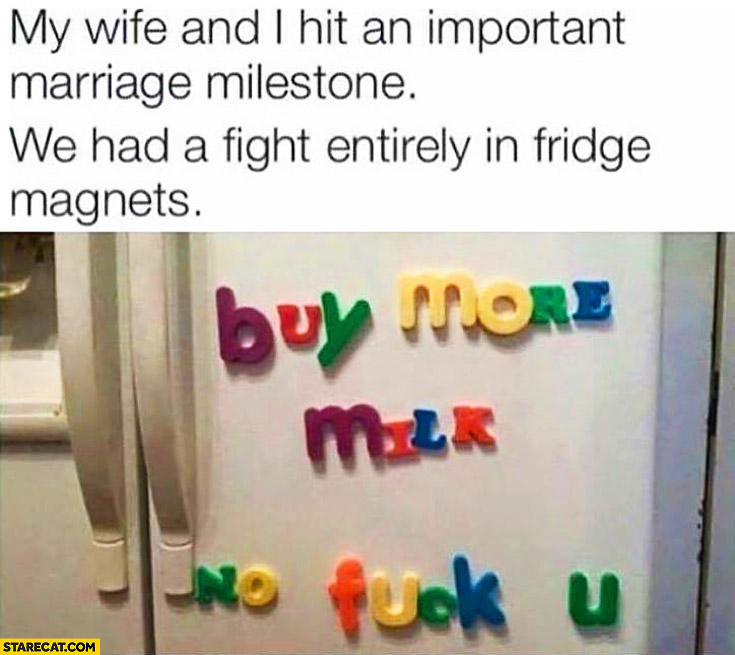 My wife and I hit an important marriage milestone: we had a fight entirely in fridge magnets