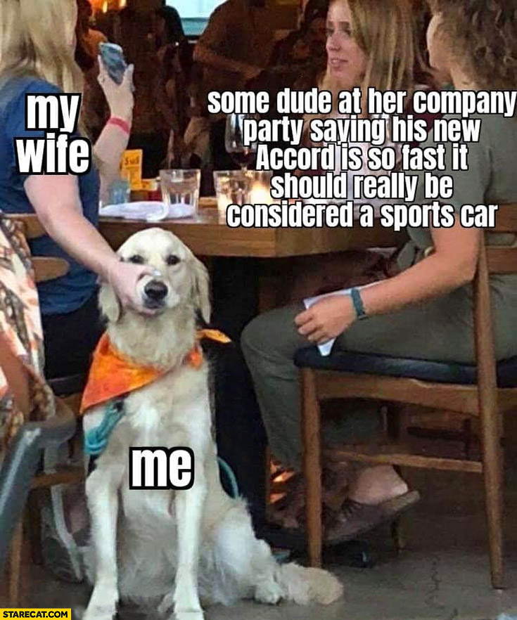 My wife dog me some dude at her company saying Accord is so fast it should be considered a sports car