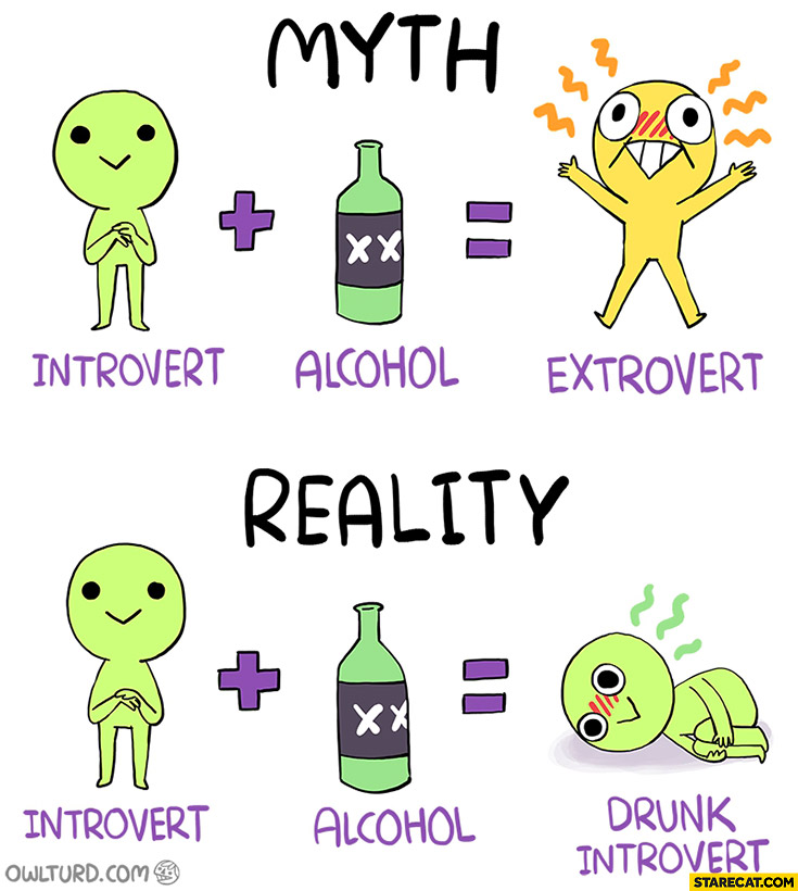 Myth: introvert plus alcohol equals extrovert. Reality: introvert plus alcohol exuals drunk introvert