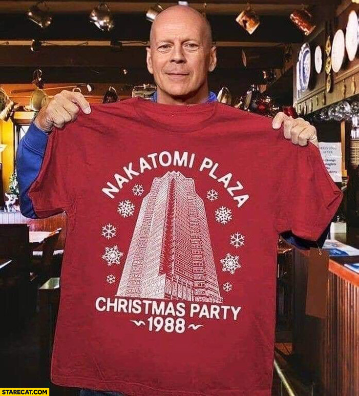 Nakatomi Plaza Christmas party 1988 Bruce Willis shirt