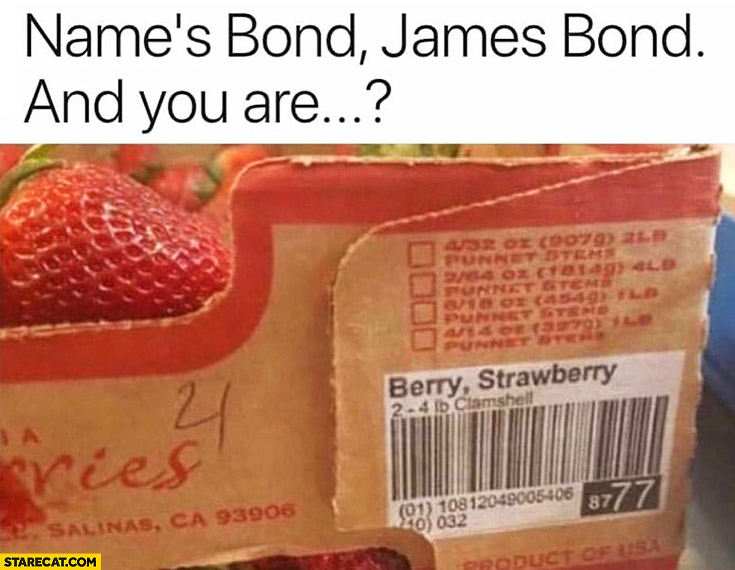 Nnames? Bond, James Bond, and you are? Berry, Strawberry