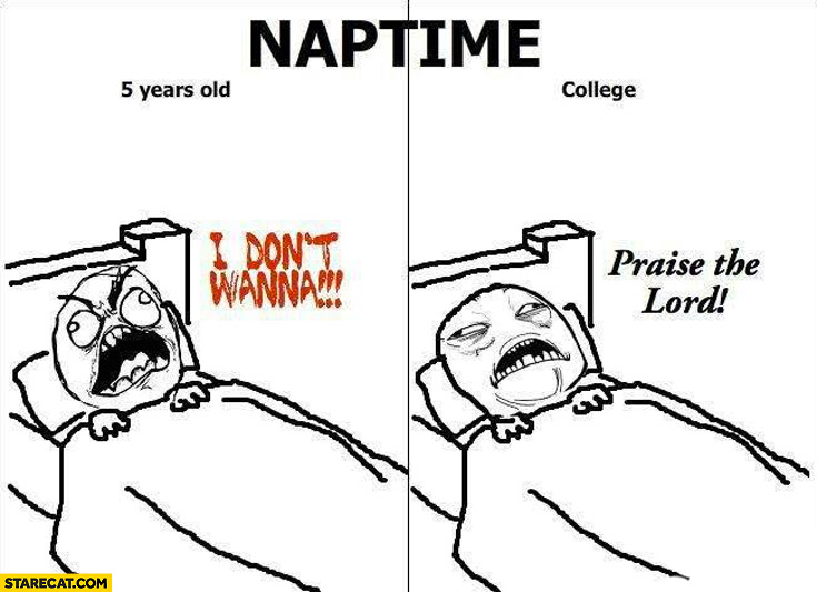 Naptime 5 years old I don't wanna college praise the lord