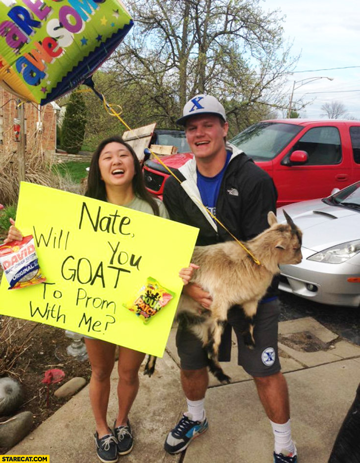 Nate will you goat to prom with me