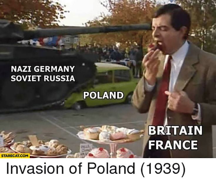 Nazi Germany and Soviet Russia invading Poland Britain France not interested Mr Bean