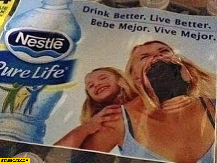 Nestle botteled water foil wrap woman huge mouth