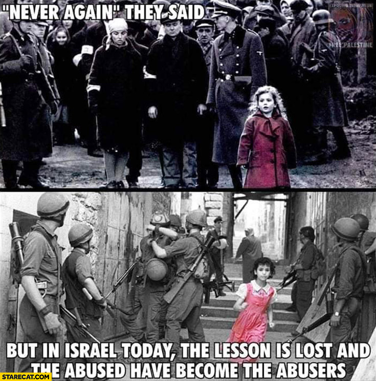 Never again they said, but in Israel today the lesson is lost and the abused have become the abusers