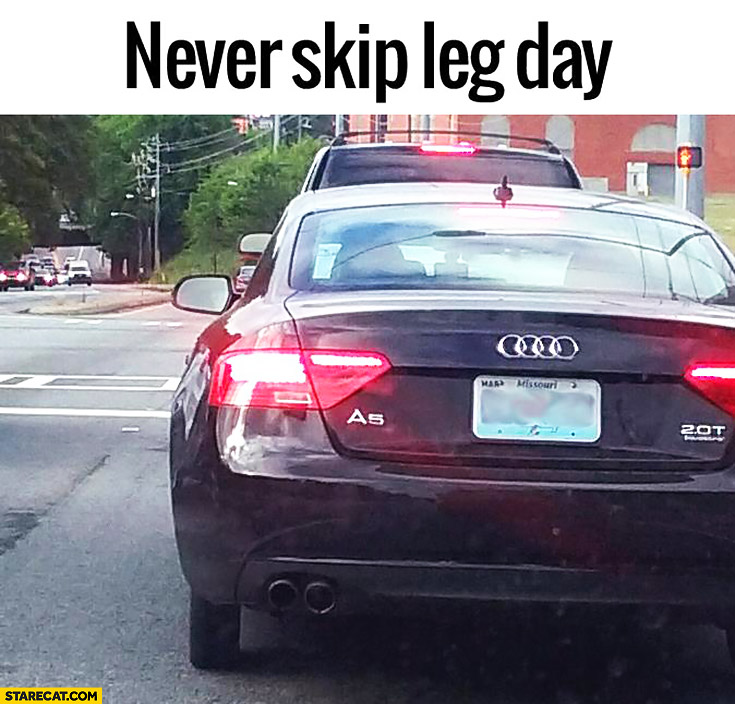 Never skip leg day Audi on a thin spare wheel