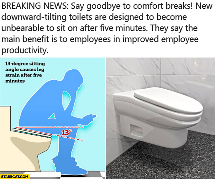 New downward tilting toilets designed to become unbearable to sit on after five minutes they improve employee productivity