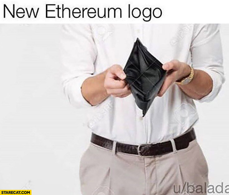 New Ethereum logo empty wallet