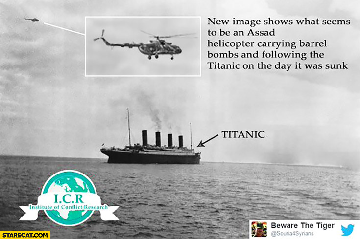 New image shows Assad helicopter carrying barrel bombs and following the Titanic on the day it was sunk