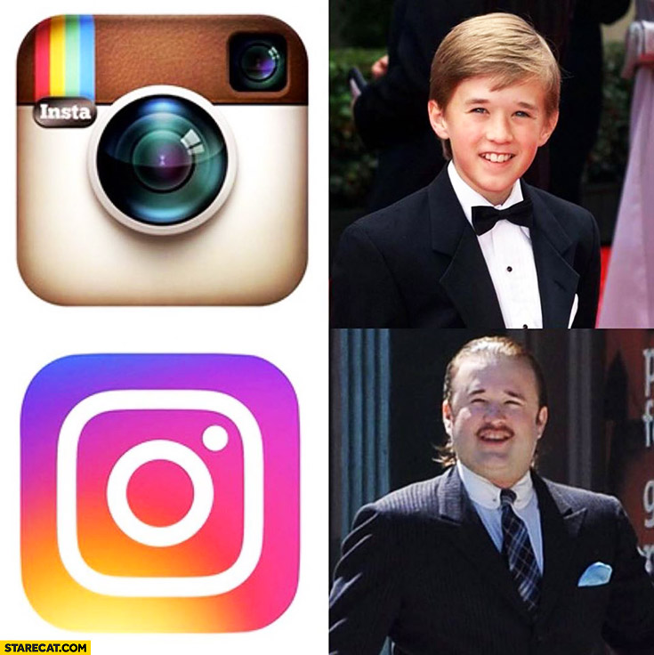 New instagram logo icon compared to Haley Joel Osment