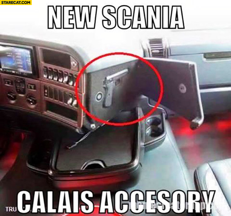 New Scania Calais accesory: handgun glock hidden case