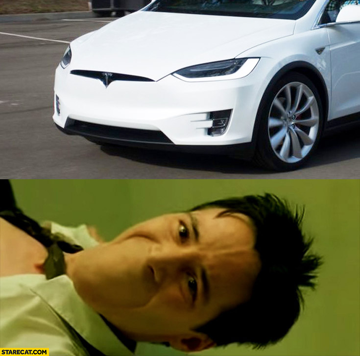 New Tesla Model X vehicle front Keanu Reeves Neo without mouth comparison