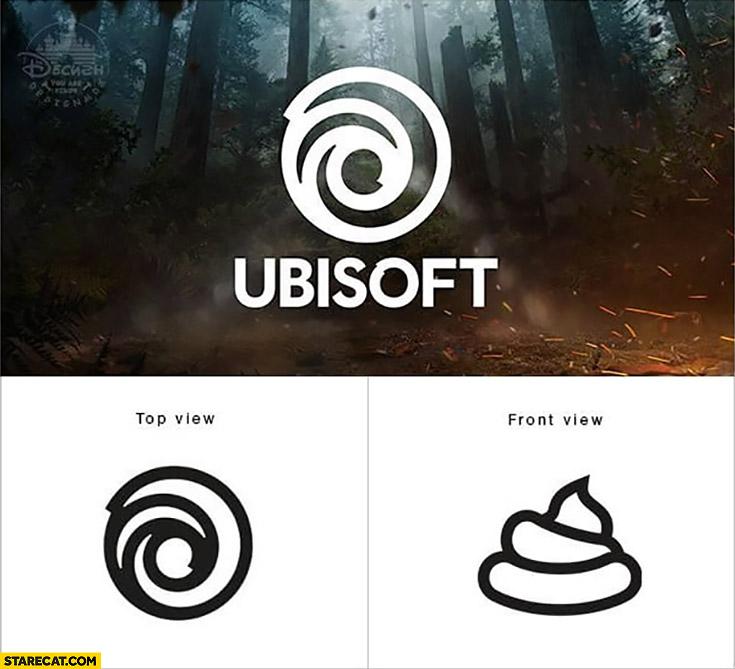 New Ubisoft logo: top view vs front view shit dump