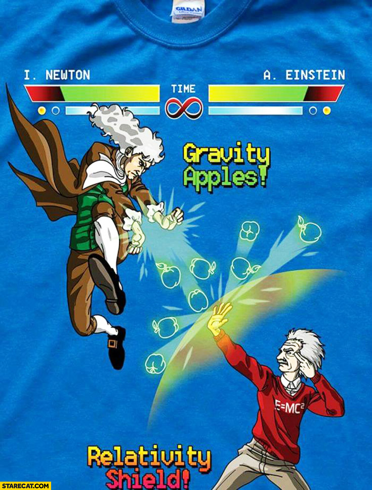Newton vs Einstein nerdy t-shirt gravity apples relativity shield