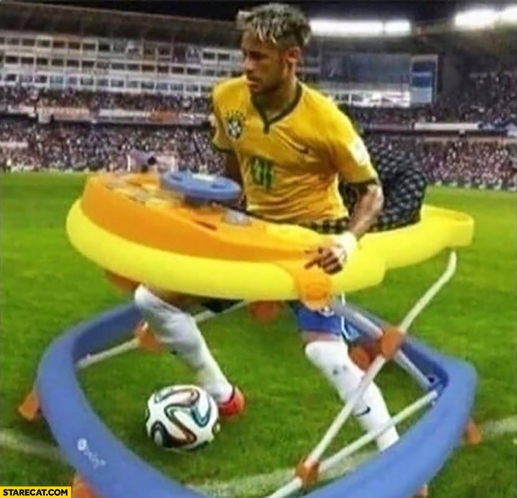 Neymar playing in a baby toy so that he won't fall collapse