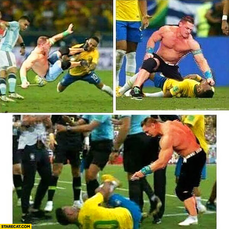 Neymar vs John Cena fighting injury foul photoshopped