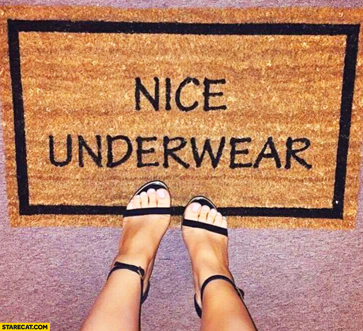 Nice underwear floormat text