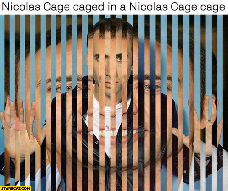 Nicolas Cage caged in a Nicolas Cage cage