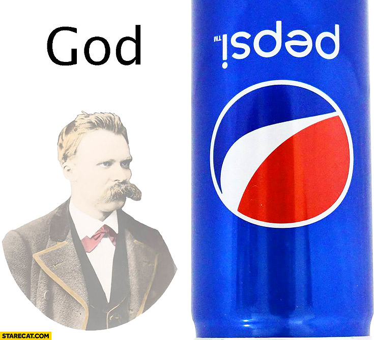 Nietzsche God is dead Pepsi can upside down