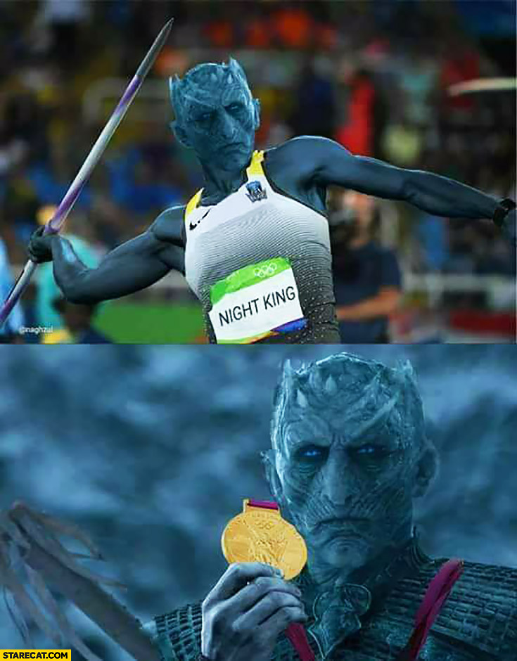 Night King wins javelin throw on Olympic Games beyond the wall Game of Thrones