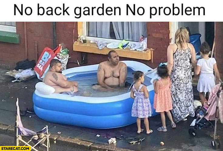 No back garden no problem men sitting in a inflatable pool in front of a house
