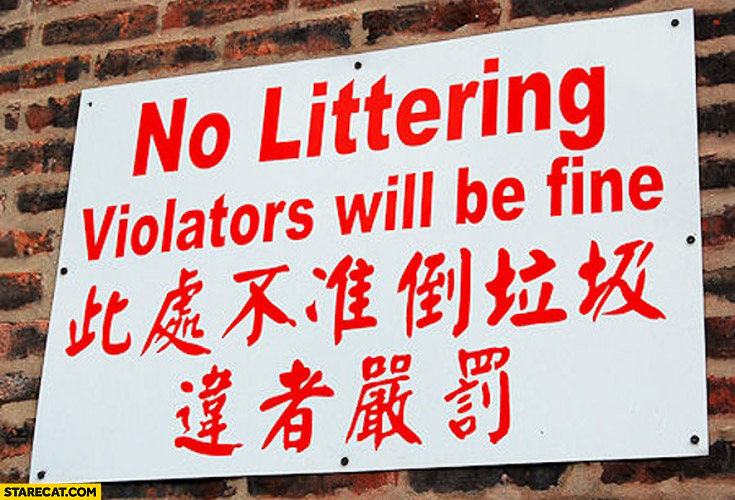 No littering violators will be fine