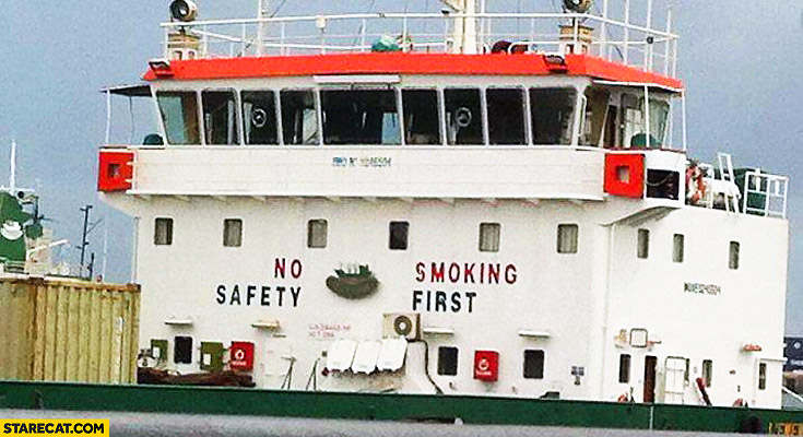 No safety smoking first ship