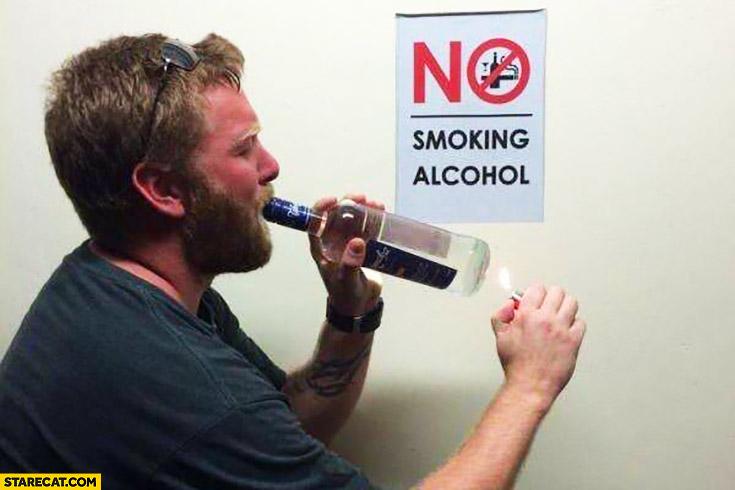 No smoking alcohol sign trolling
