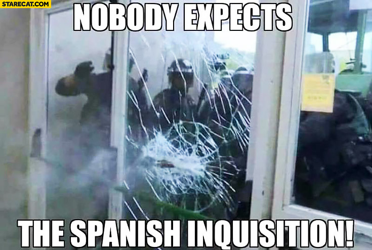 Nobody expects the Spanish Inquisition police in Catalonia, Spain