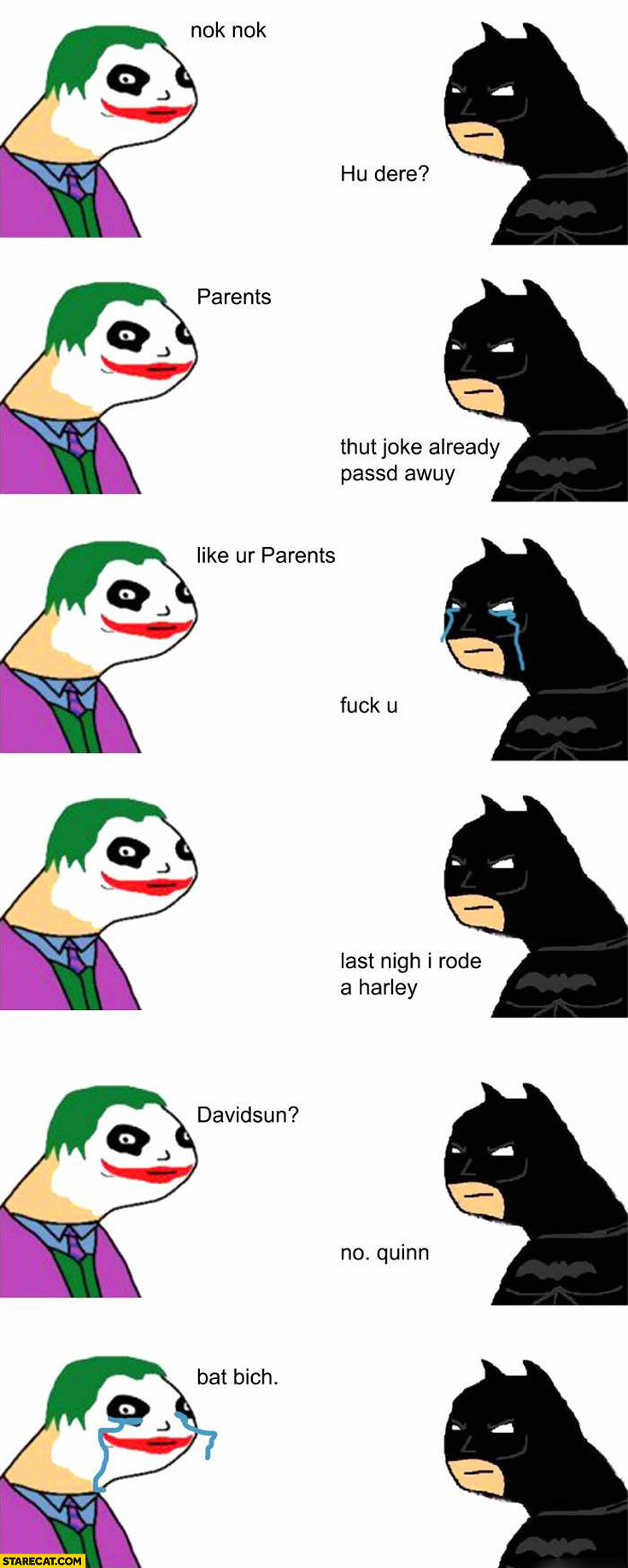Nok nok who's there parents already passed away Batman Joker conversation