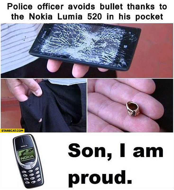 Nokia Lumia saves police officer from bullet son I'm proud Nokia 3310