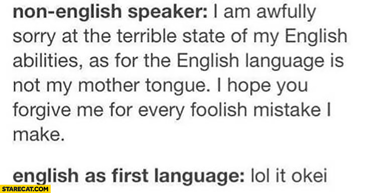 Non english speaker: I am awfully sorry at the terrible state of my English. English as first language: lol it okei