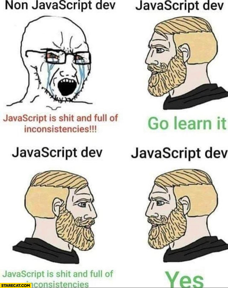 Non javascript dev: javascript is shit and full of inconsistencies, go learn it, yes