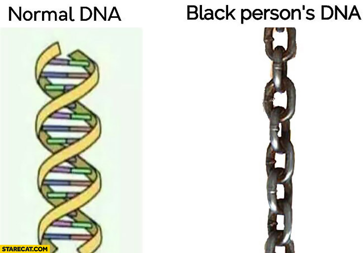 Normal DNA vs black person's DNA chain