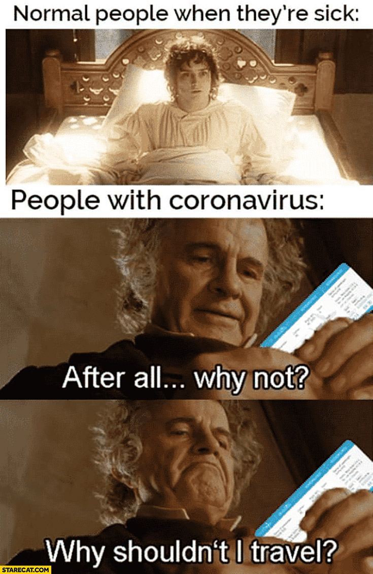 Normal people when they're sick in bed vs people with coronavirus after all why shouldn't I travel? Lord of the Rings