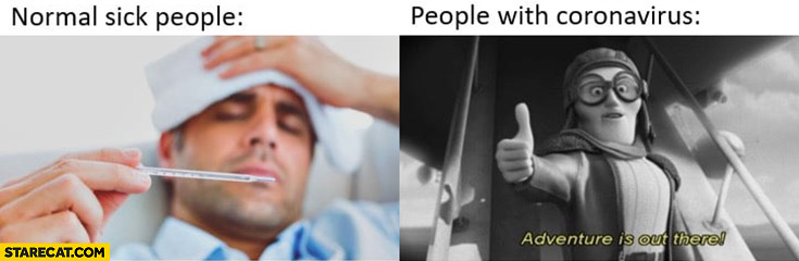 Normal sick people in bed vs people with coronavirus adventure is out there