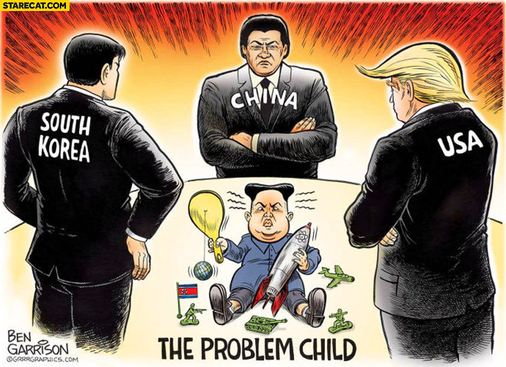 North Korea the problem child USA China South Korea watching drawing