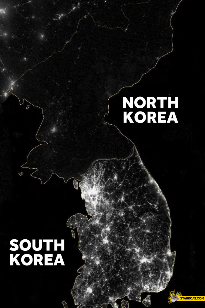 North Korea vs South Korea by night lights comparison