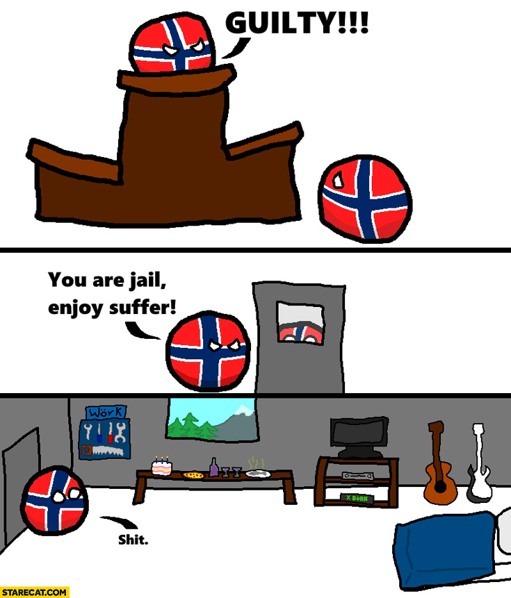 Norway guilty you are in jail enjoy suffering prison full of cool gadgets polandball