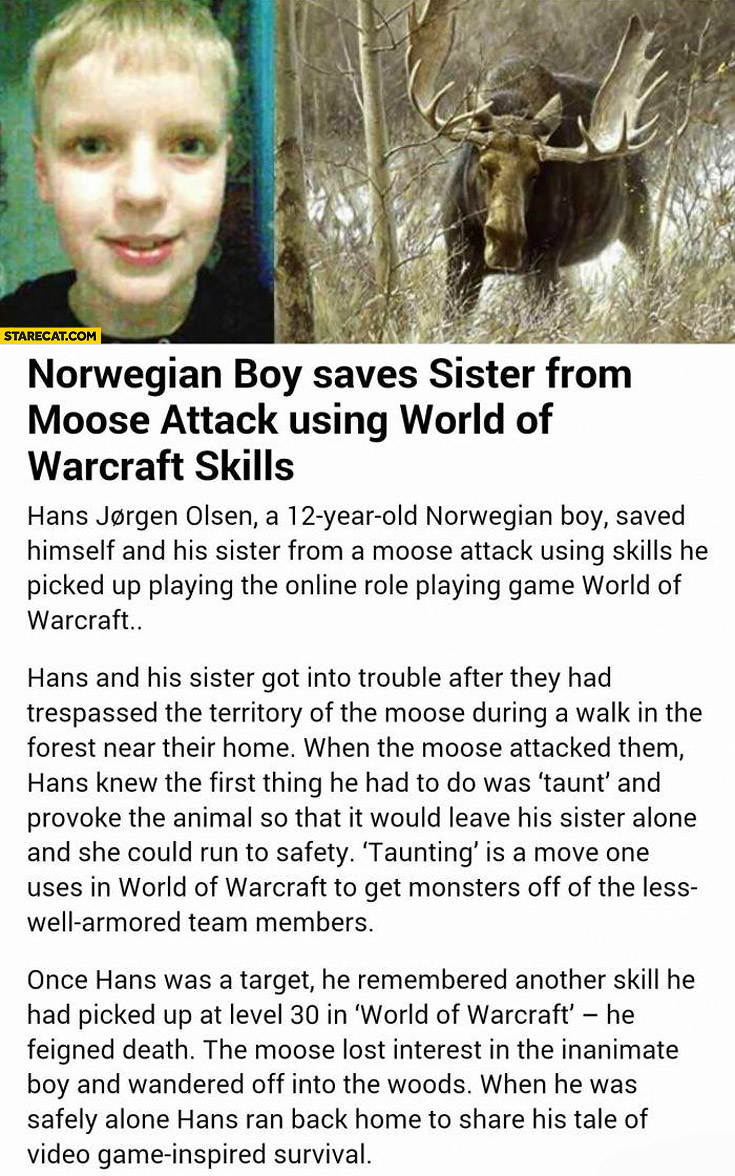 Norwegian boy saves sister from moose attack using World of Warcraft skills