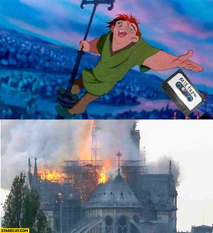 Notre Dame fire memes Quasimodo drops his fire mixtape